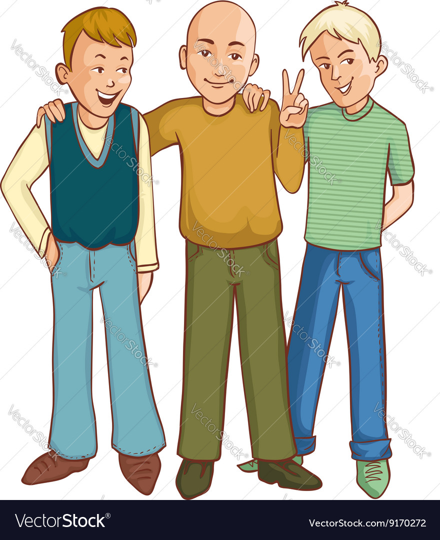 Three cartoon friends supporting each other vector image