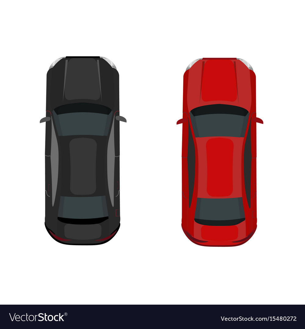 Two cars black and red view from above vector image