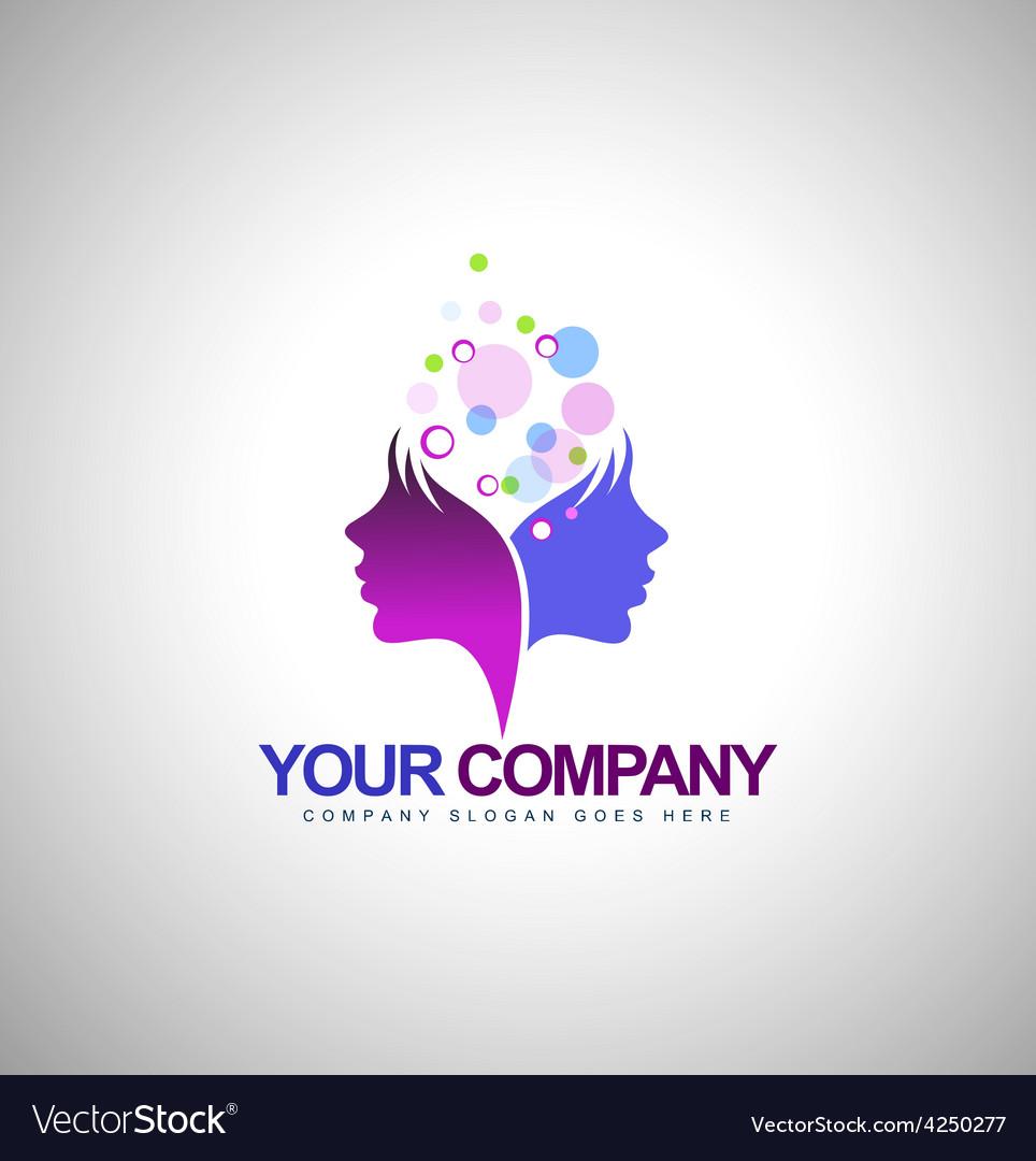 Beauty Female Face Logo Design vector image