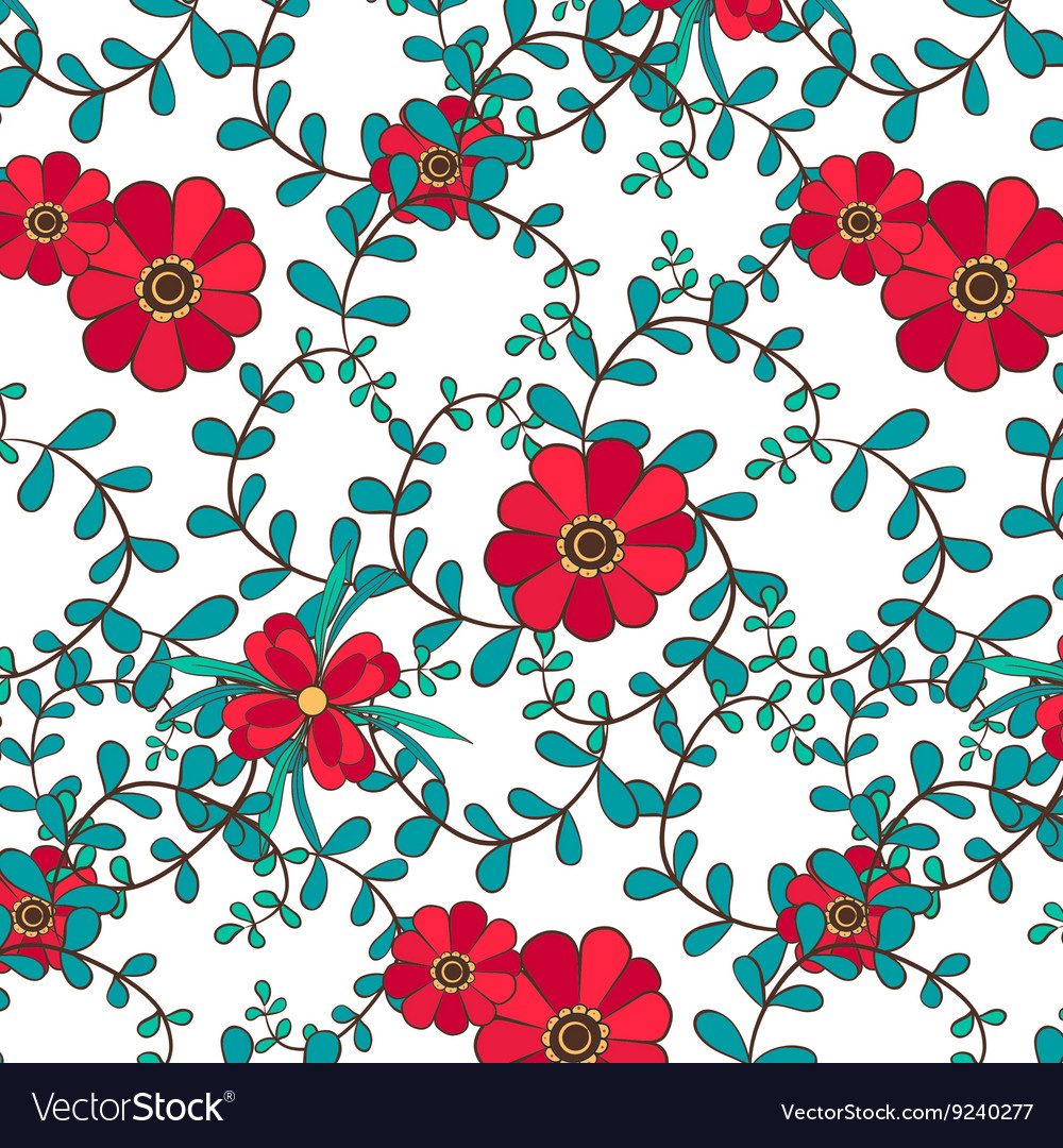 Botanical seamless pattern leafs and flowers