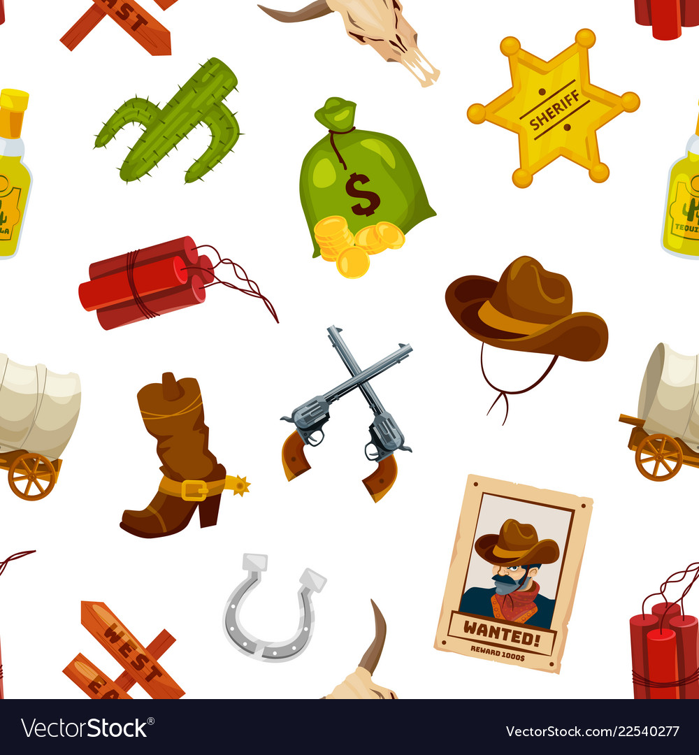 Cartoon wild west elements pattern or