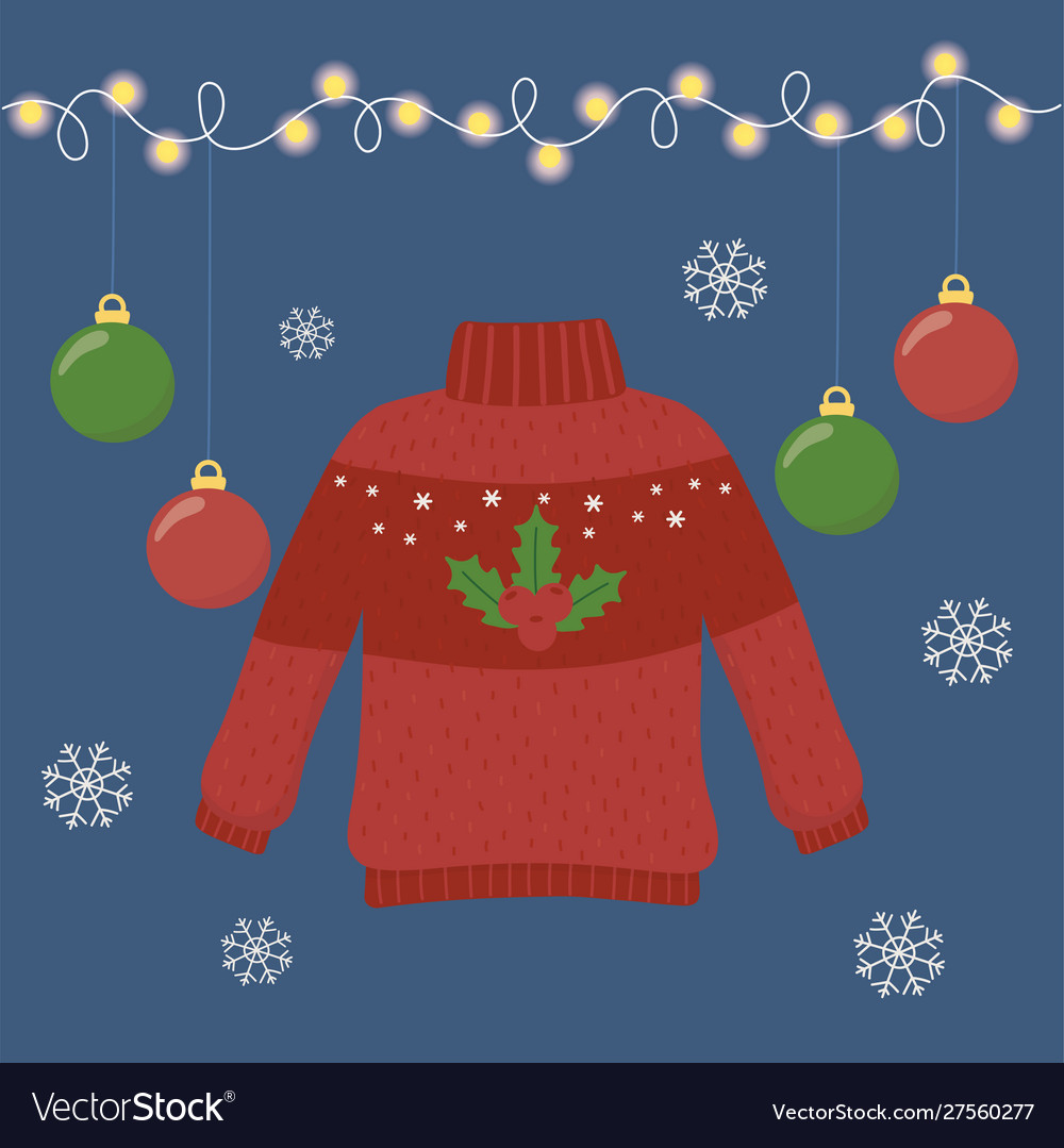 Christmas Ugly Sweater Party With Holly Berry And Vector Image