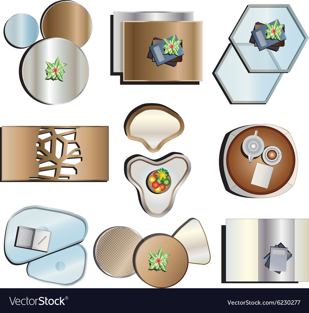 Coffee Table Top View Set 2 Vector Image