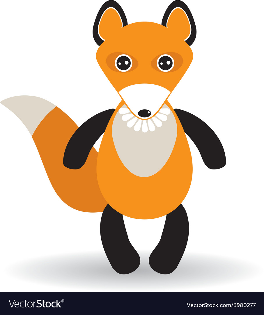 Cute cartoon fox on white background