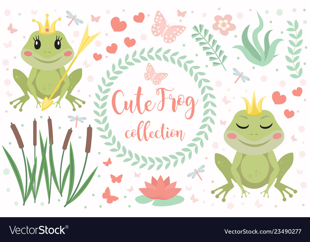 Cute frog princess character set objects