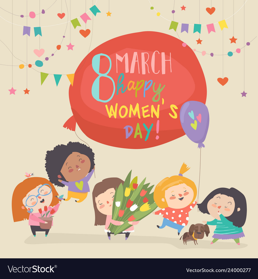 Cute girls with flowers celebrating womens day