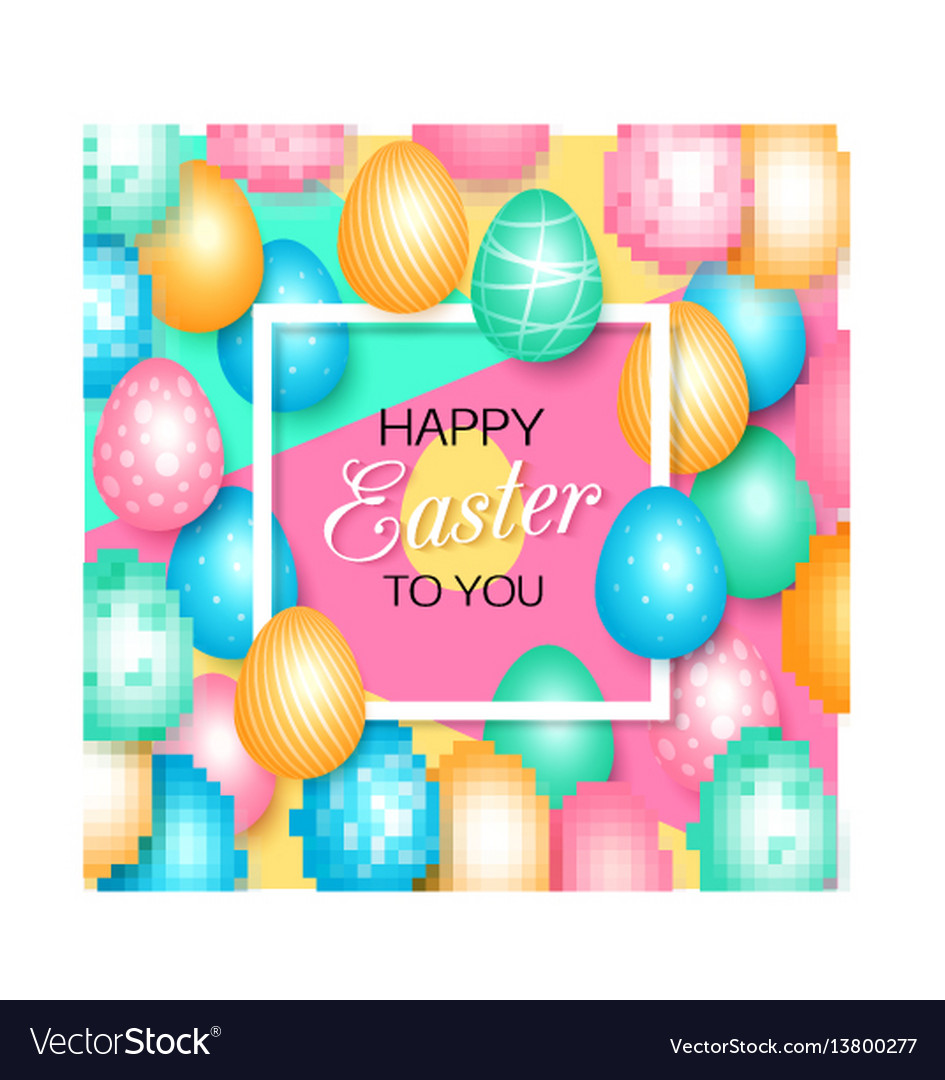 Easter greeting card with colorful eggs