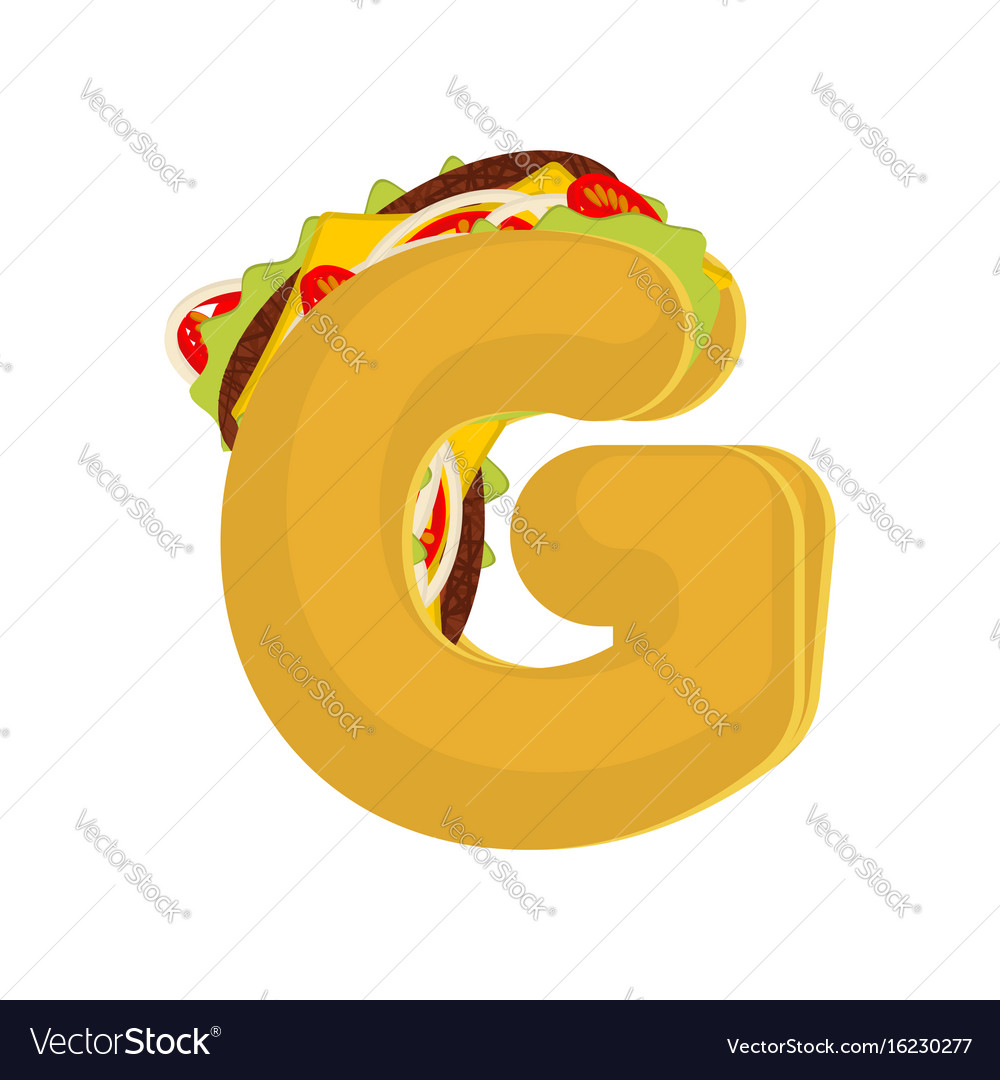 Letter g tacos mexican fast food font taco