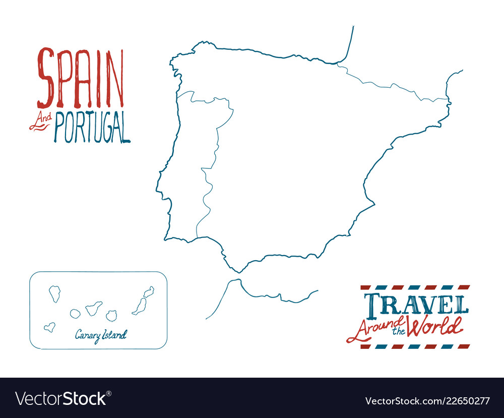 Travel Map Of Spain And Portugal.Map Of Spain And Portugal Drawn By Hand On White