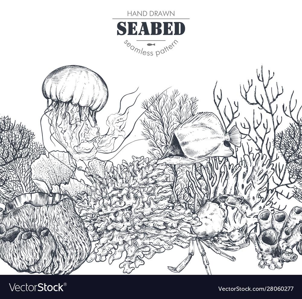 Monochrome seamless coral reef pattern