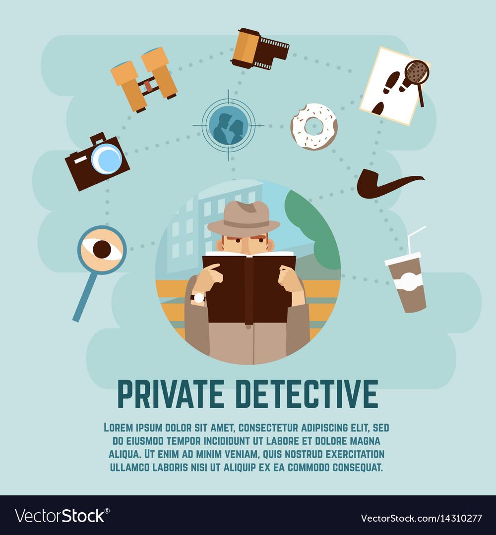 Private detective concept vector image