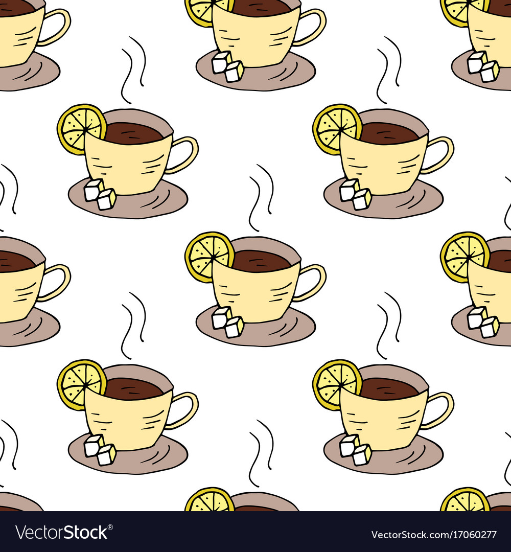Seamless pattern with cups of tea and lemon