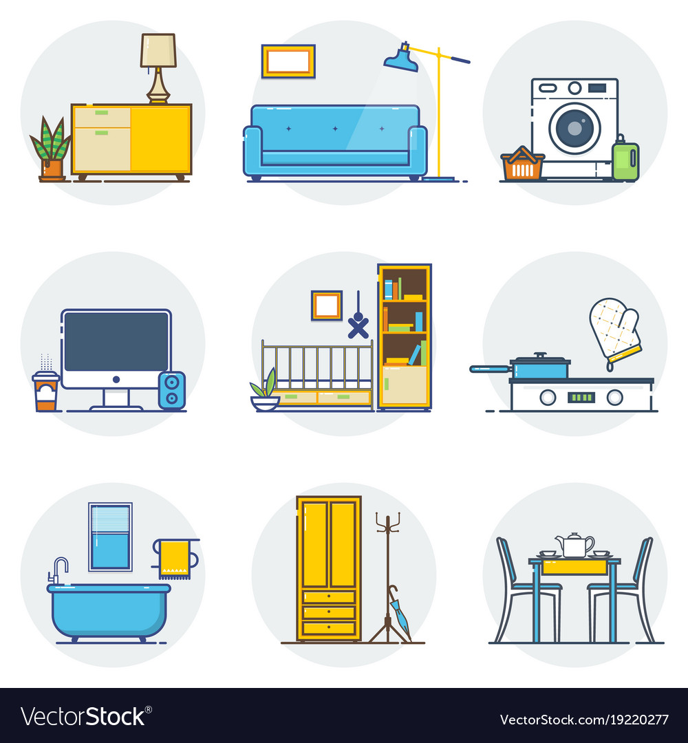 Set of line interior design icons line sign and