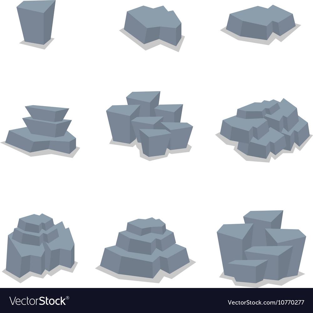 Set of stone style art vector image
