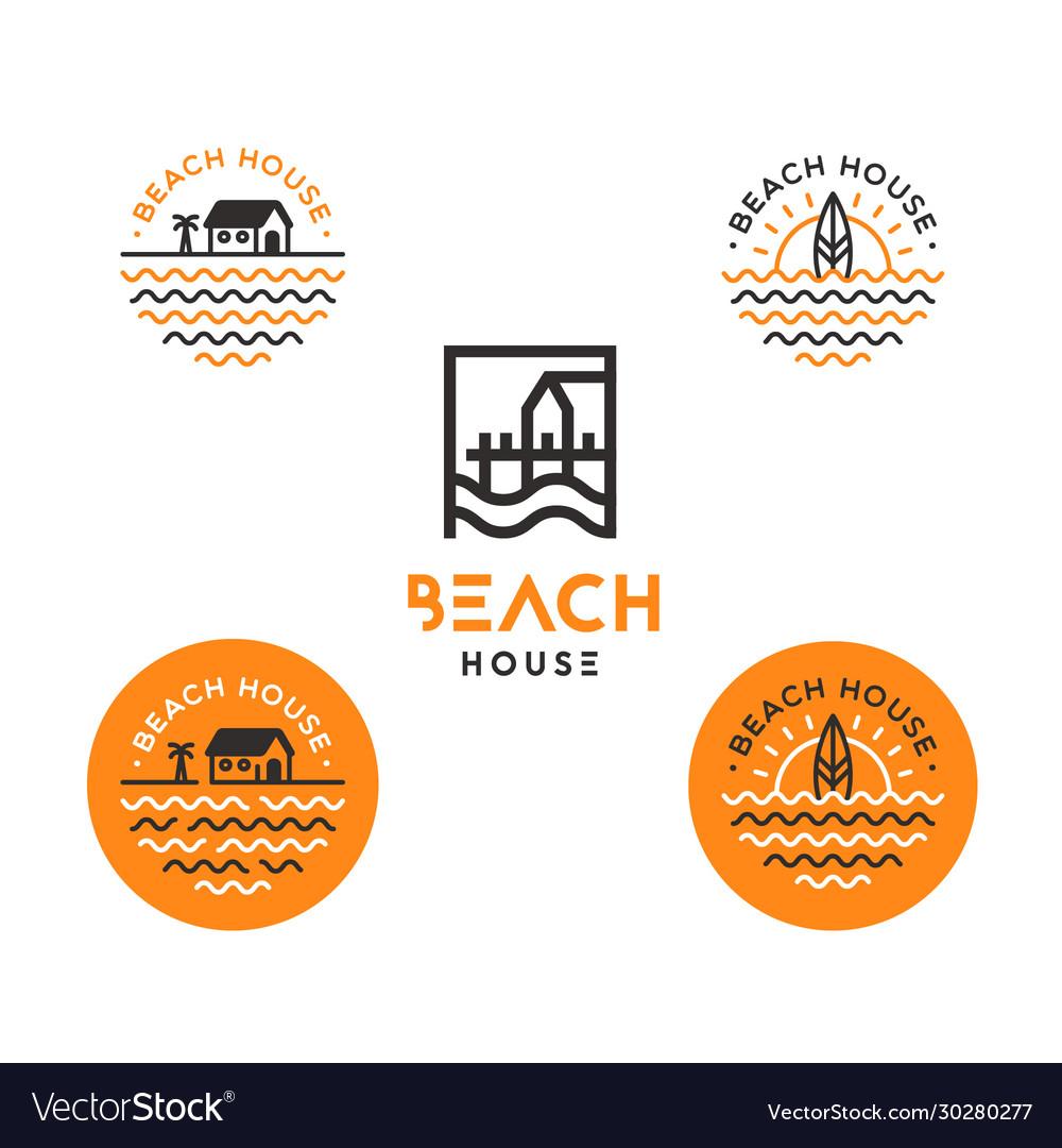 Simple minimalist logo for surfing beach house