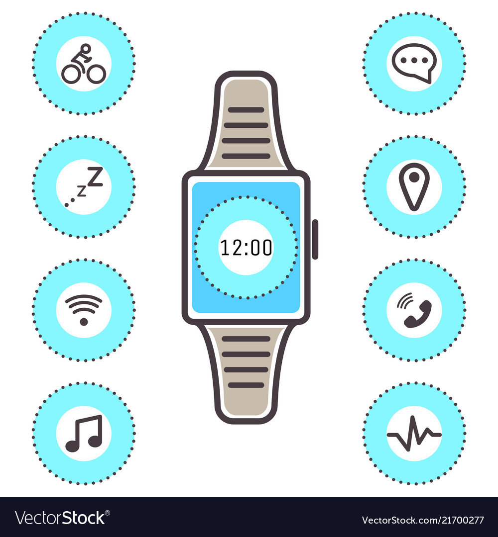 Smart technology wrist watch icons isolated