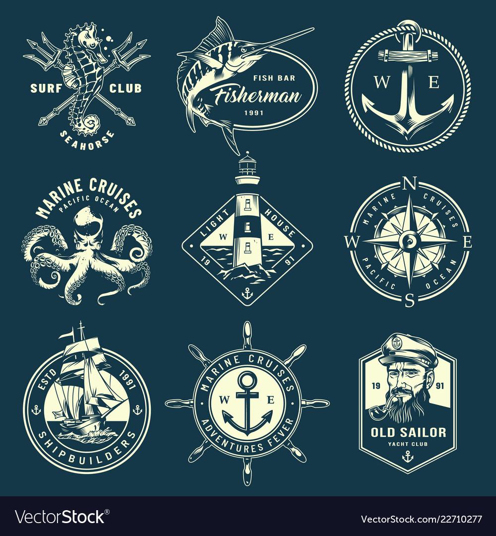 Vintage monochrome marine labels