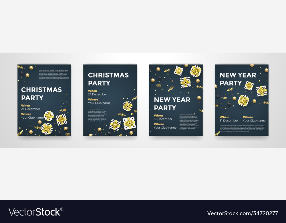 Year winter holiday party posters