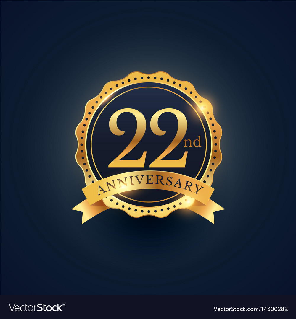 22nd anniversary celebration badge label in vector image