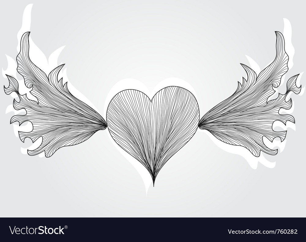 Abstract flying heart