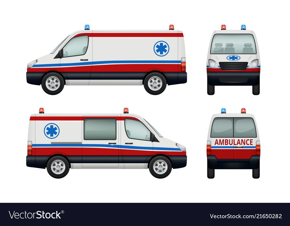 Ambulance service cars various views of ambulance