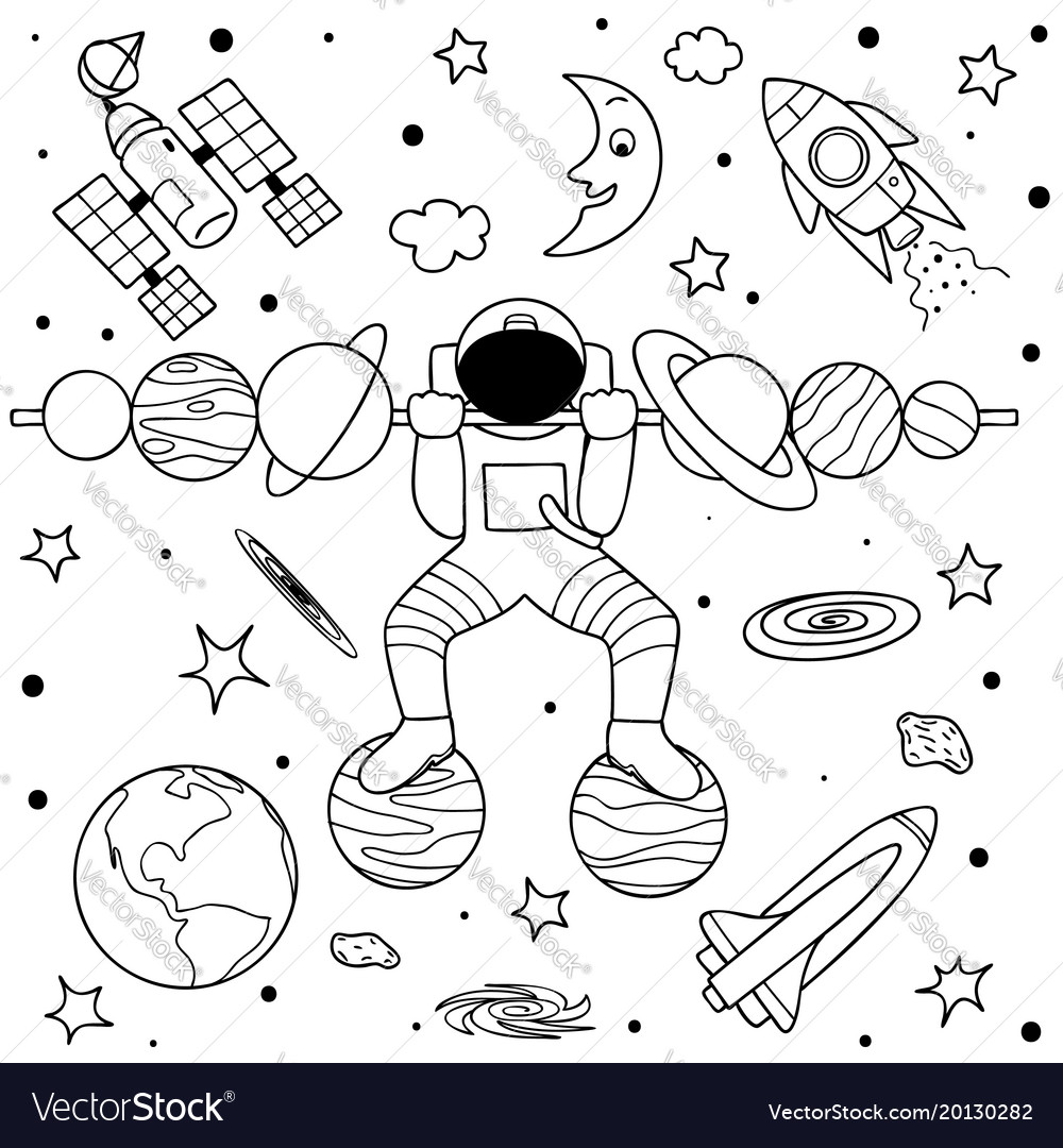 Astronaut do weight lifting vector image