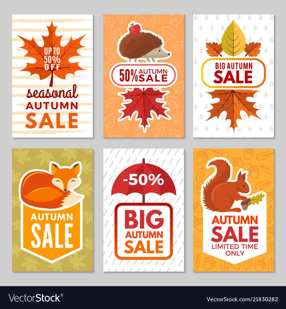 Autumn cards hedgehog fox squirrel and autumn