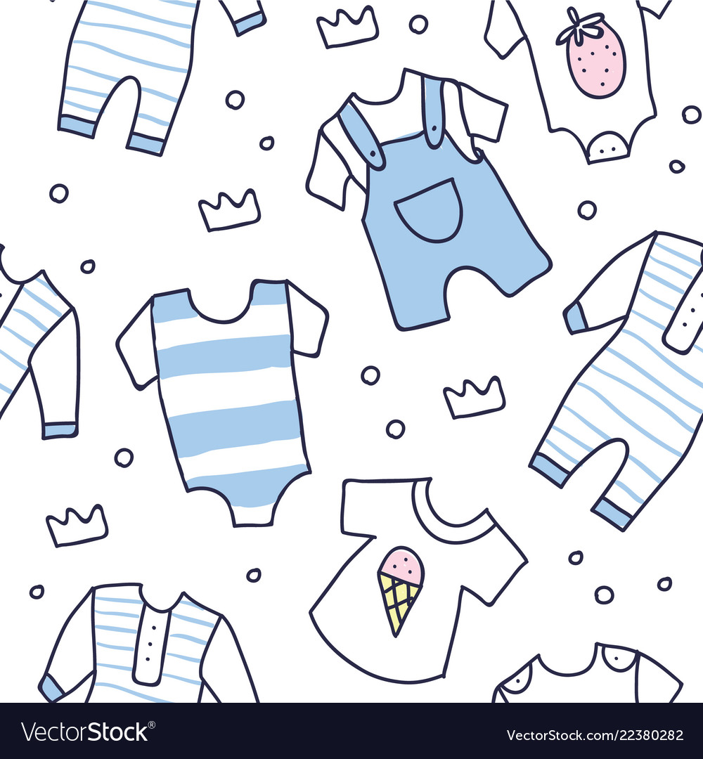 Baby Shower Seamless Pattern Of Baby Boy Clothes Vector Image
