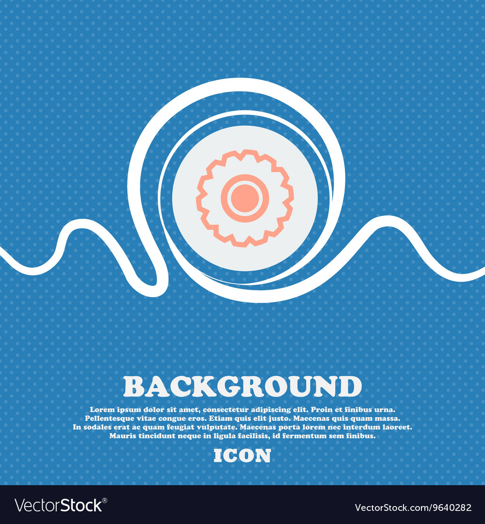 Cogwheel sign icon Blue and white abstract vector image