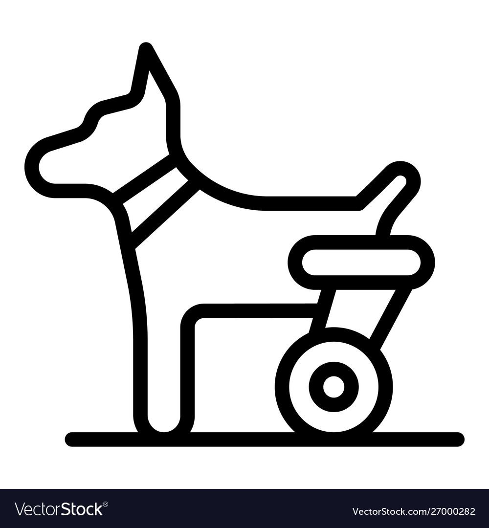 Dog hind legs trolley icon outline style
