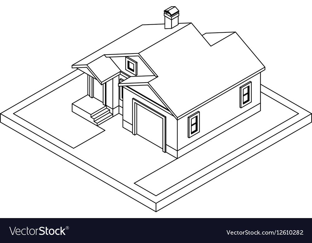Drawing of private house