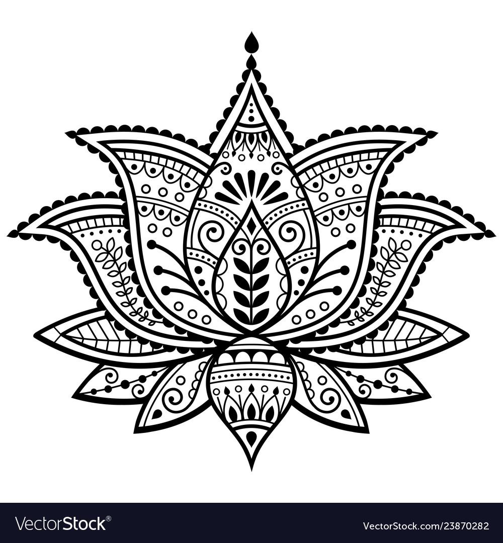 Mehndi Henna Tattoo Lotus Flower Design Royalty Free Vector