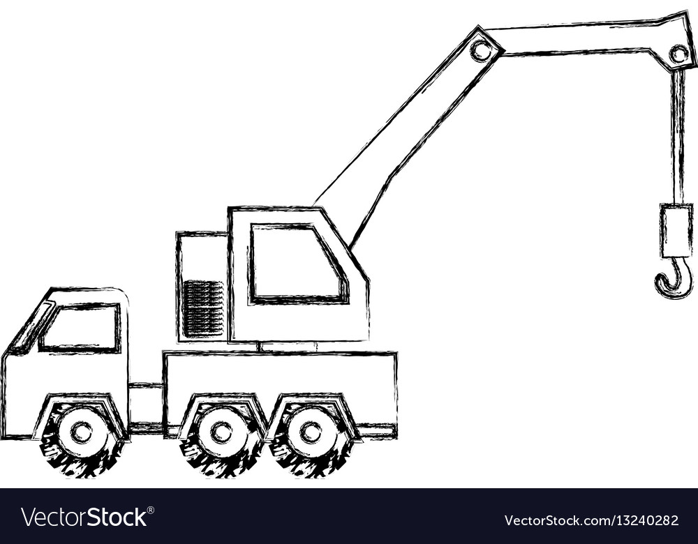 Monochrome contour hand drawing of tow truck