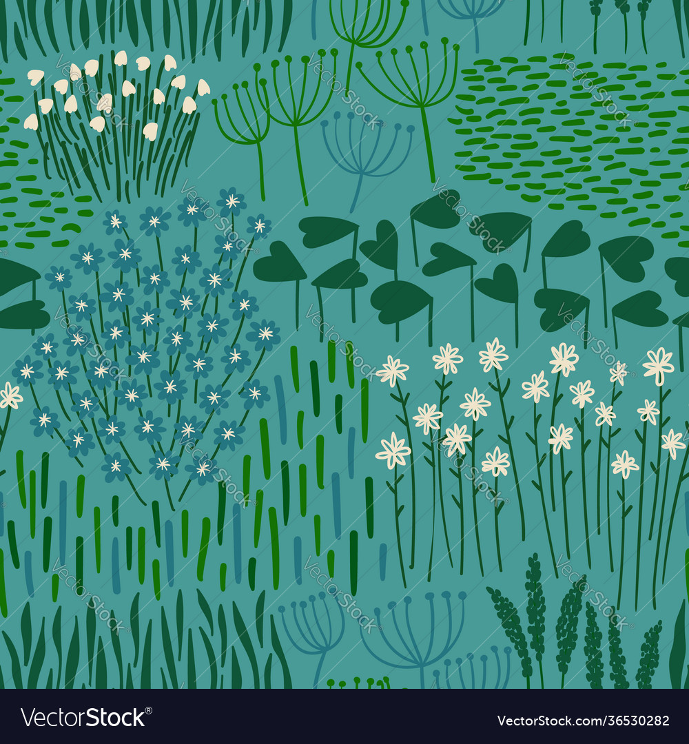 Rustic seamless pattern with wildflowers