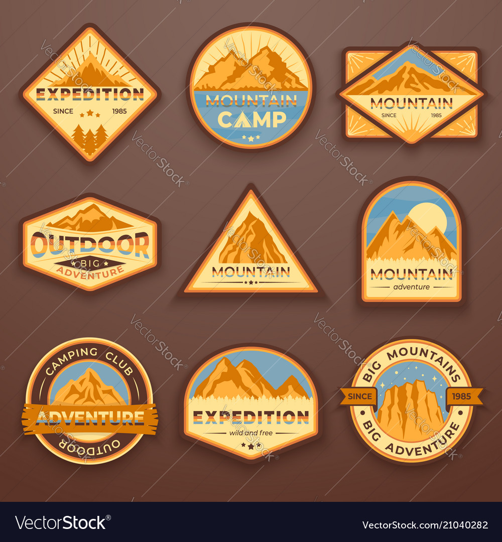 Set of nine mountain travel emblems camping vector image