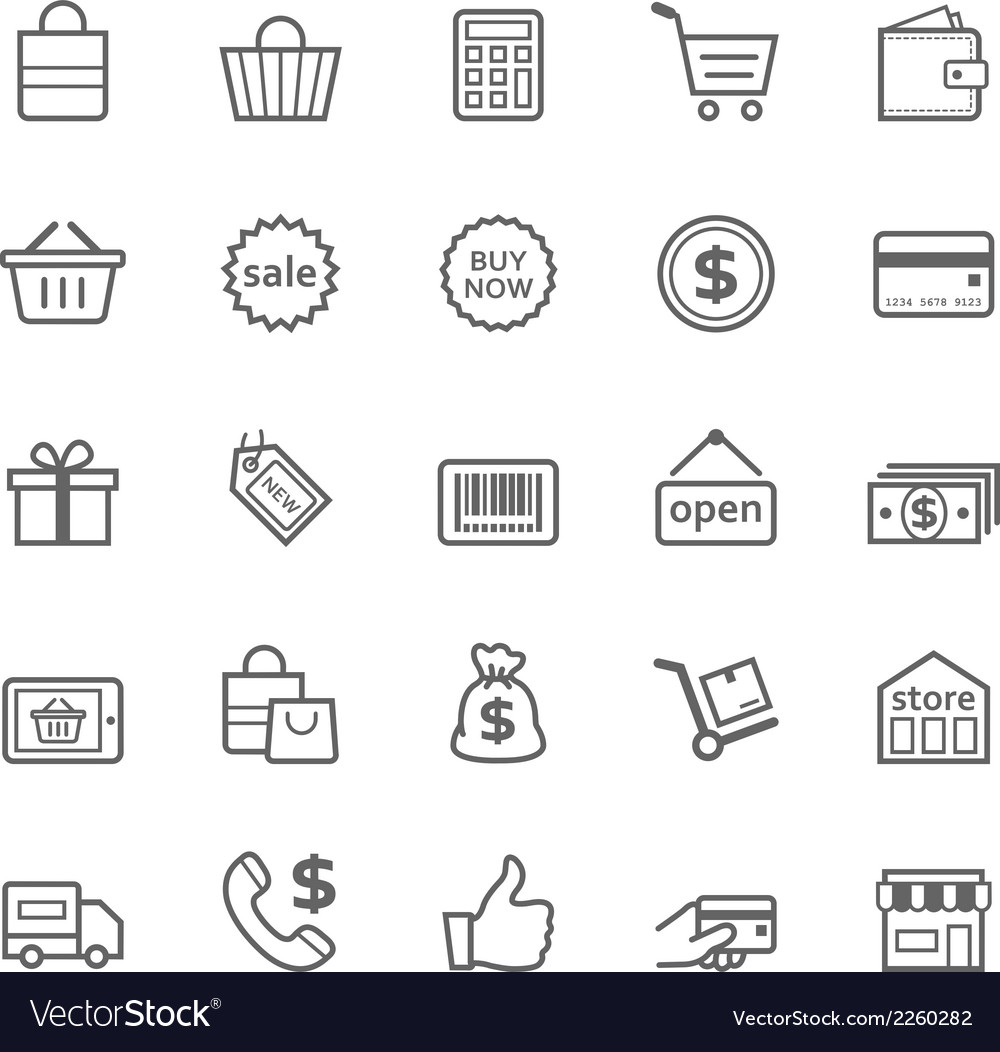Set of Outline stroke Shopping icon