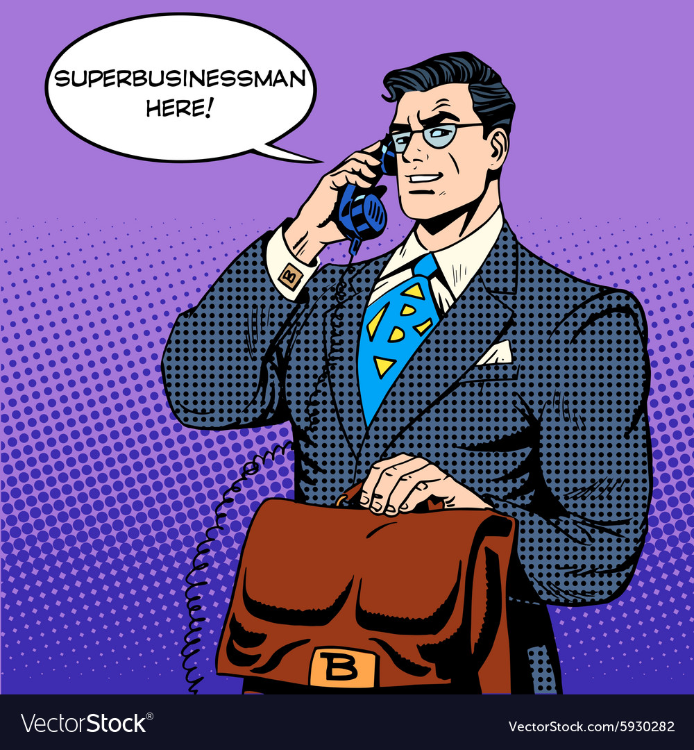 Super businessman hero talking phone success