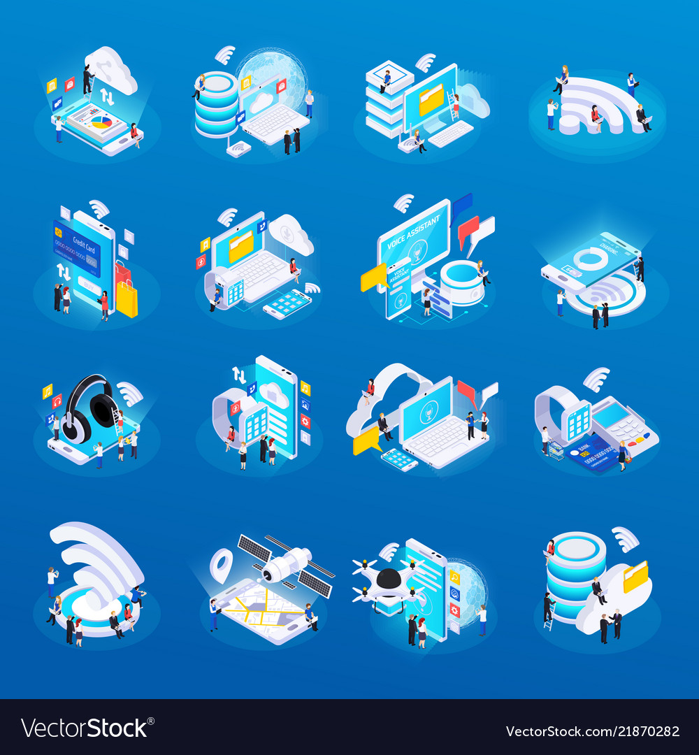 Wireless technology isometric icons