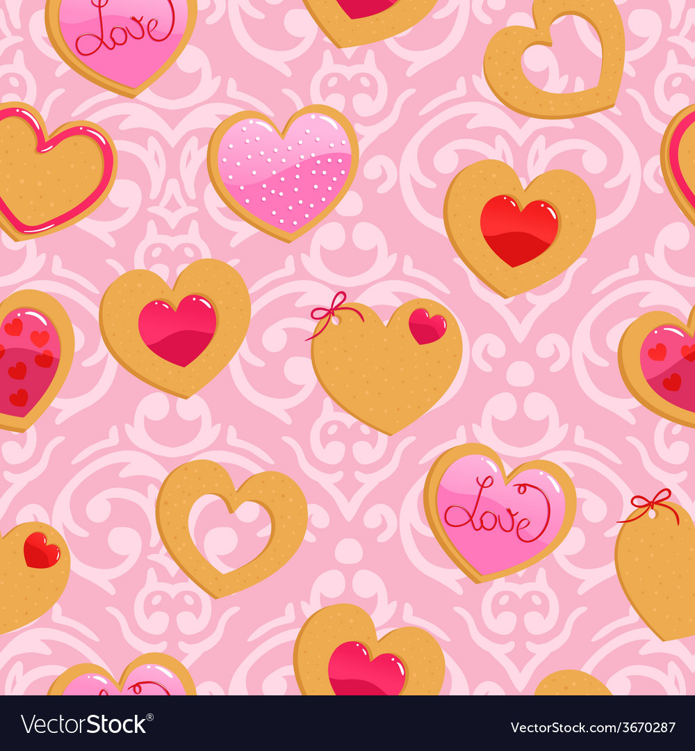 Cute pink seamless Valentines Day pattern with vector image