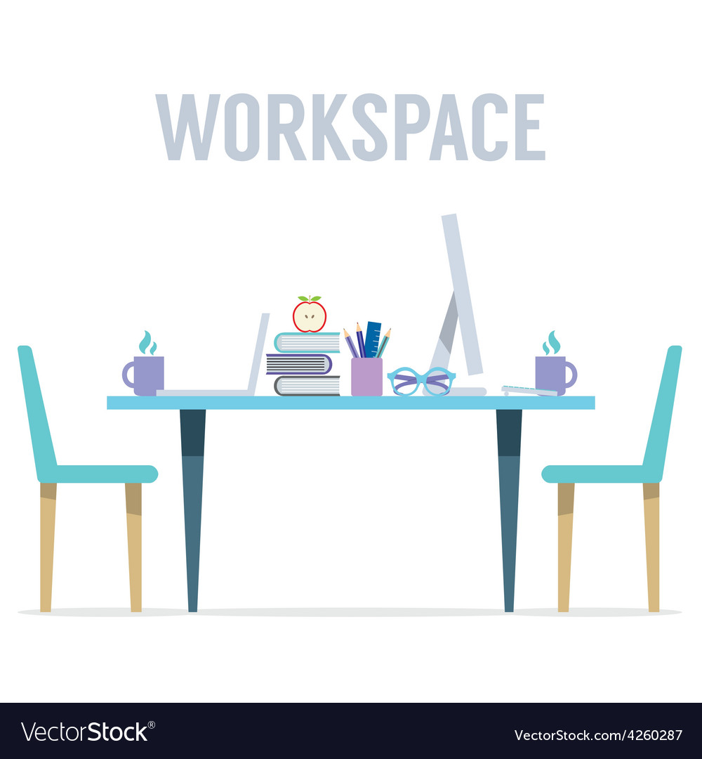 Flat Design Two Sides Workspace