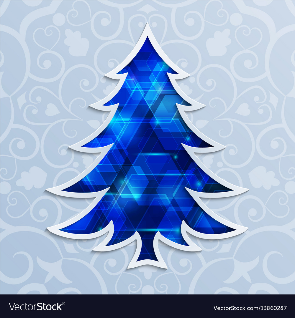 Glowing blue christmas tree design elements for