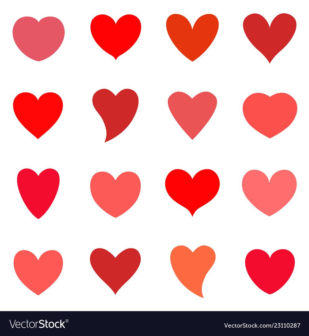 Hearts icon set valentine symbol