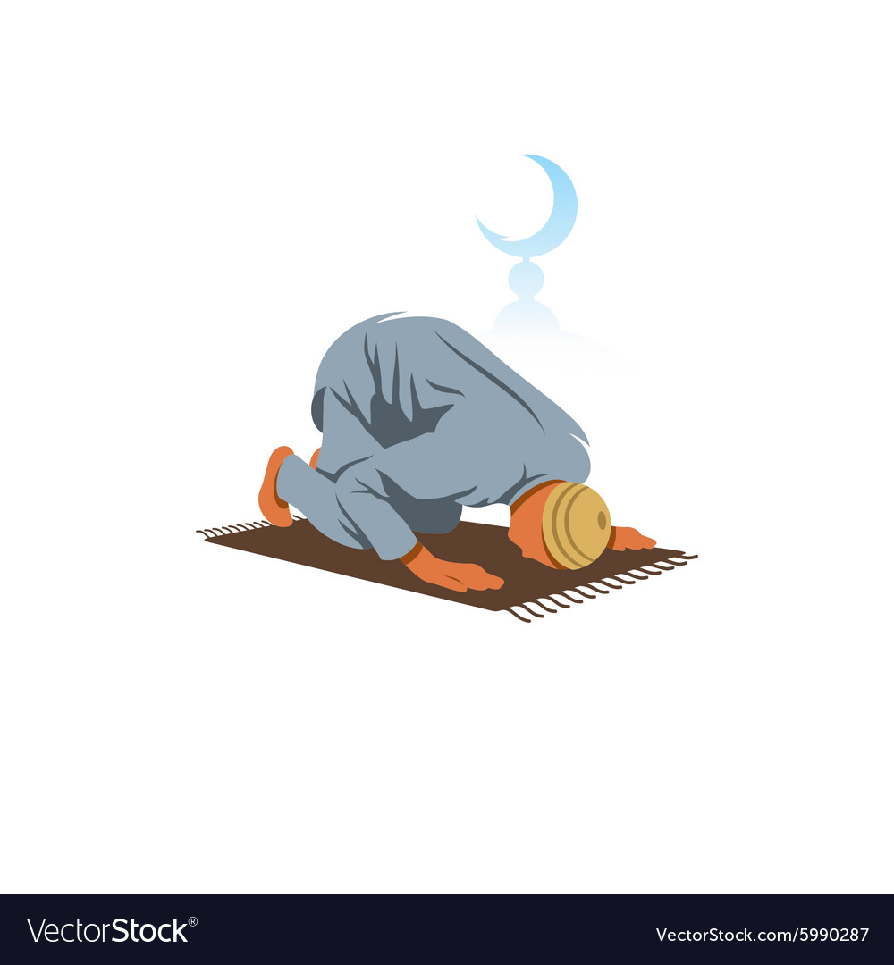 Islamic Prayer on his knees turned to God