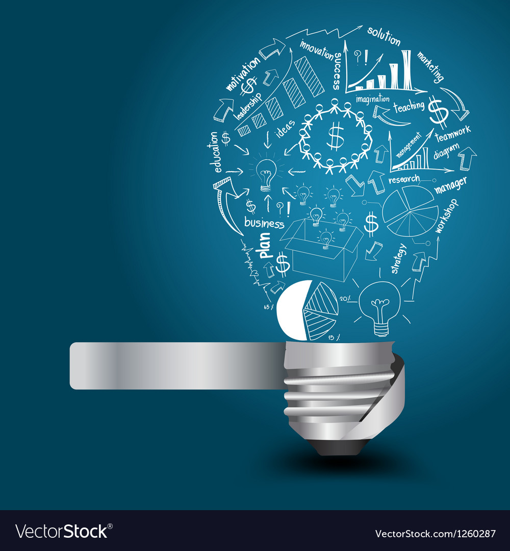 Light bulb with drawing business strategy plan Vector Image