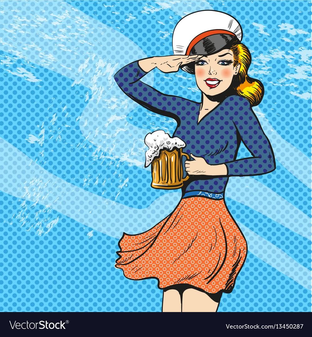 Sailor woman retro pop art