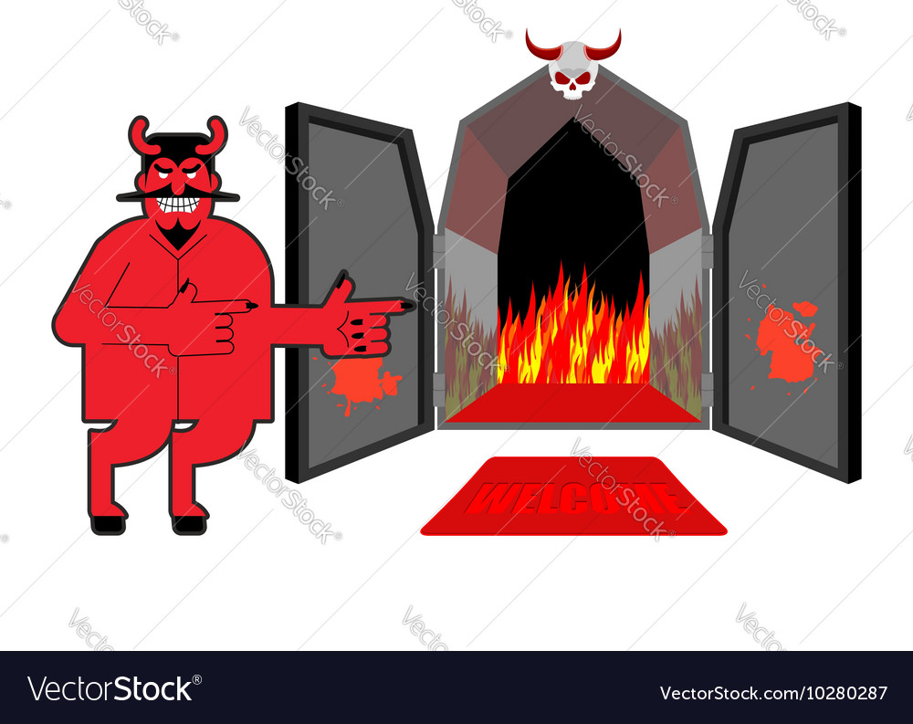 Satan invites sinners to hell Devil indicates hand