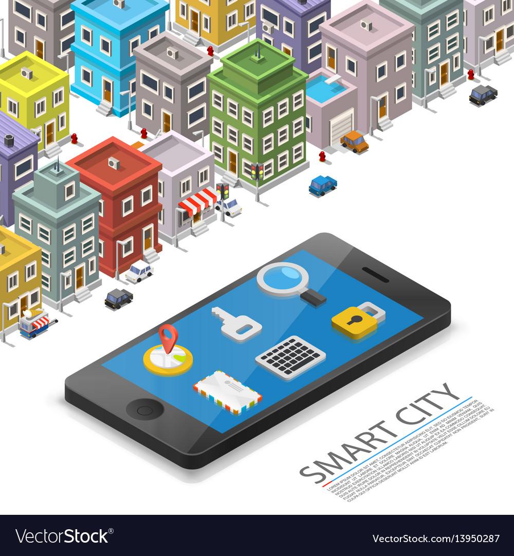 Smart city isometric app device mark object on a