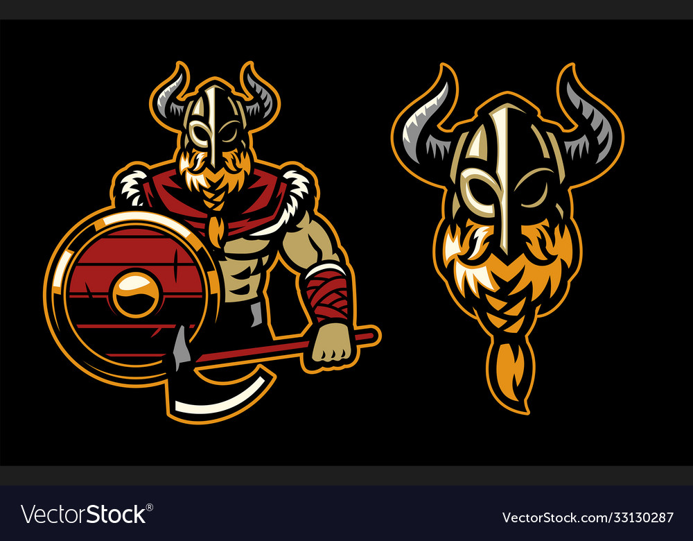 Warrior viking mascot posing