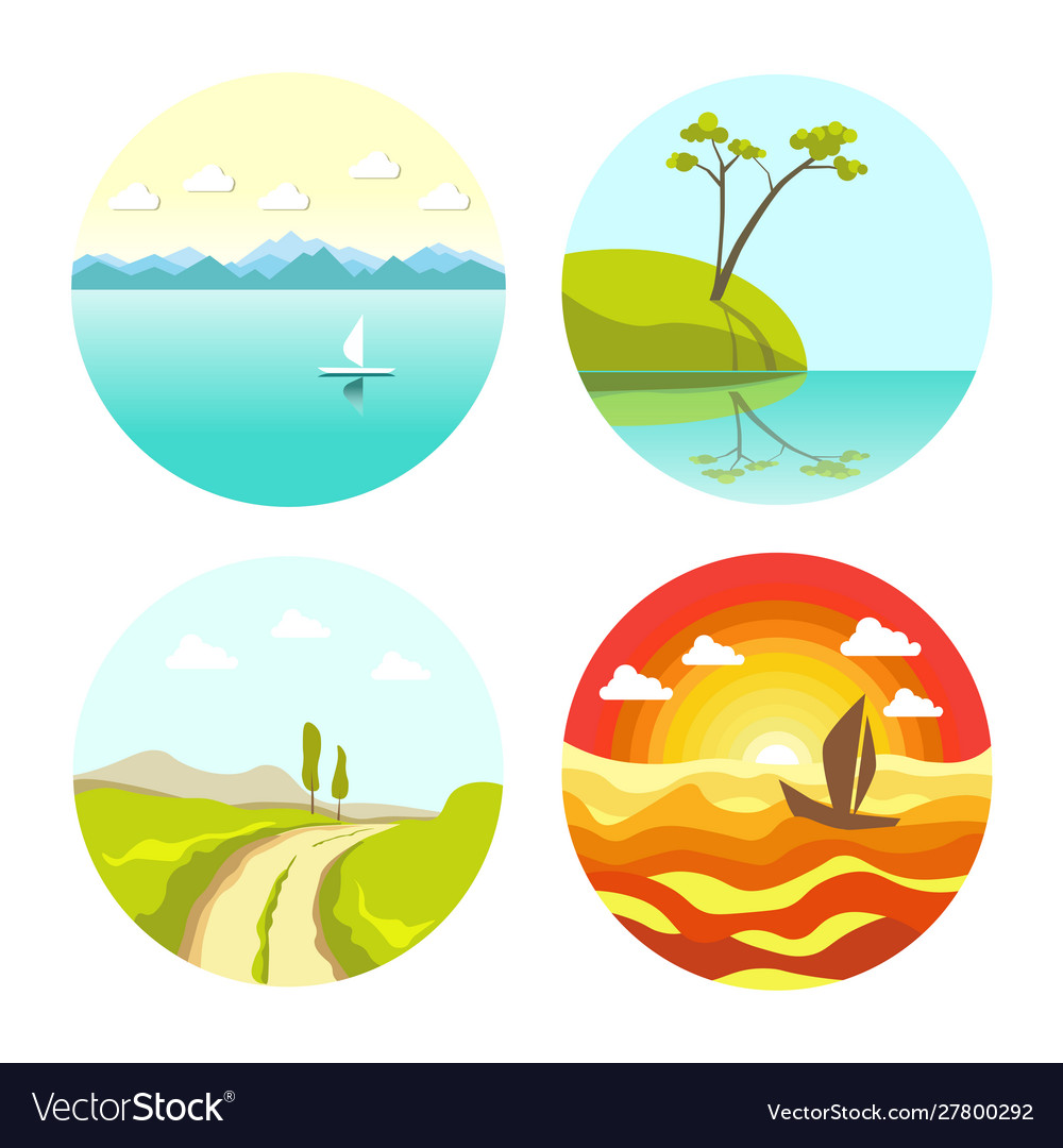 Abstract picturesque seascapes and landscape in