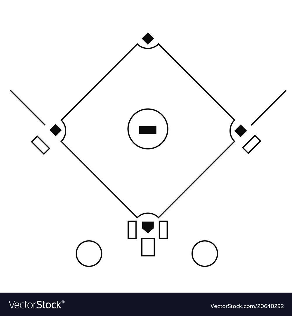 baseball field template on the white background vector image